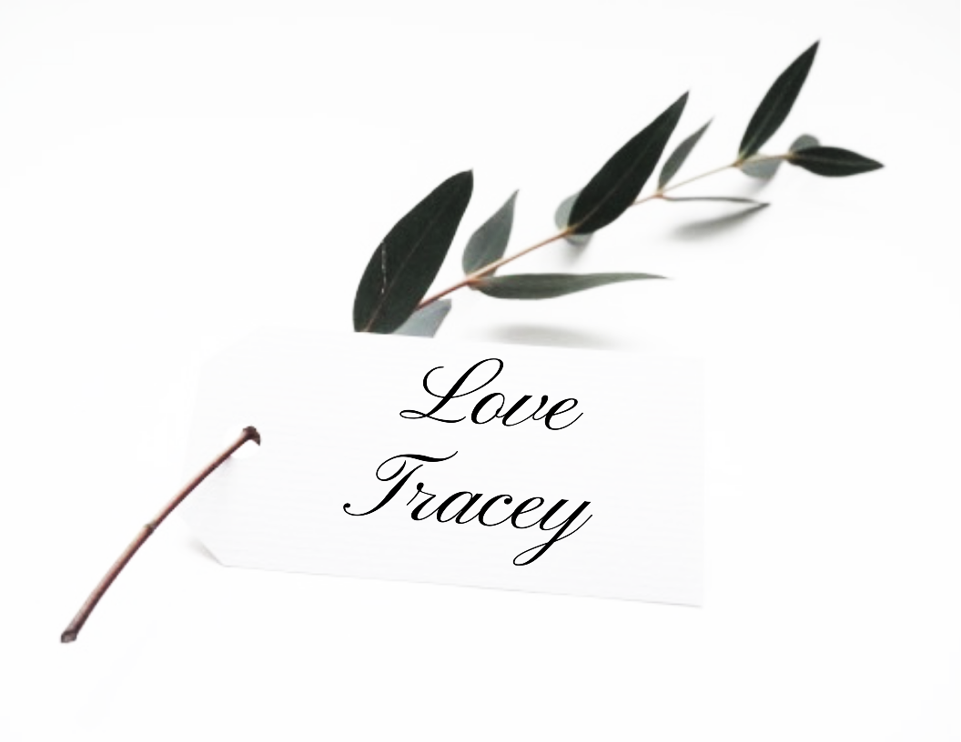 Love Tracey tag on small branch