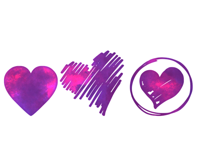 three purple hearts